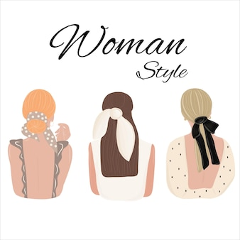 Acconciatura da donna con accessori. guarda da dietro. donne vestite con abiti diversi.