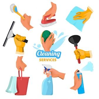 Le mani delle donne con diversi strumenti per la pulizia