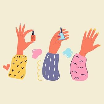 Le mani delle donne con le unghie dipinte tengono lo smalto per unghie manicure piatto illustrazione bellezza e cura