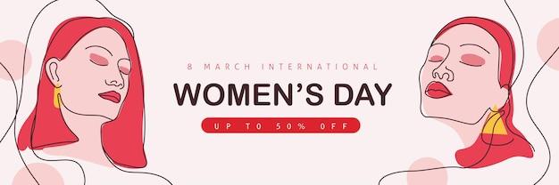 Linea arte donna. banner di vendita del giorno della donna. giornata internazionale della donna. Vettore Premium