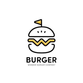 Modello di stile della linea dell'icona del logo dell'hamburger con la lettera w di wonder burger