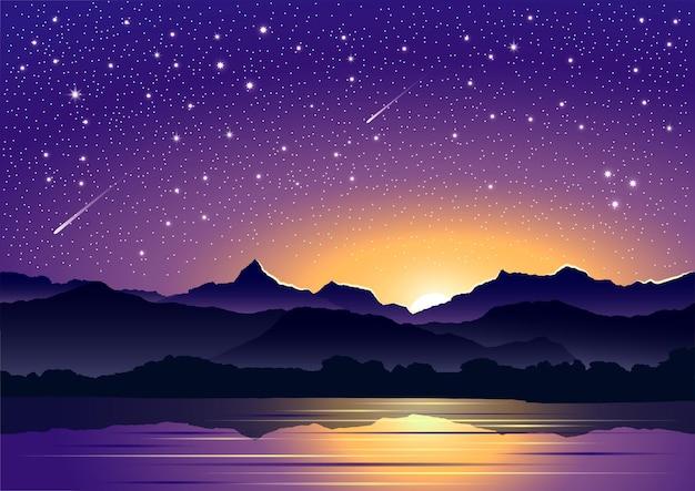 Meravigliosa composizione ial del cielo notturno su uno sfondo di montagne