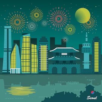 Meraviglioso poster di viaggio del paesaggio notturno di seoul in stile piatto