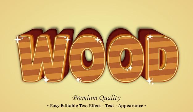 Effetto legno stile carattere 3d