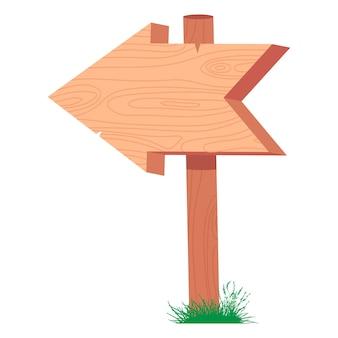 Segno della freccia di legno su un bastone nell'illustrazione del fumetto di vettore dell'erba isolata su un fondo bianco.