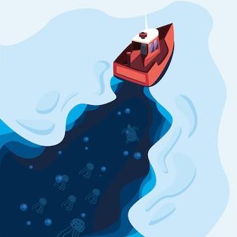 Barca di legno tra il mare ghiacciato