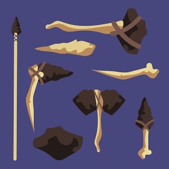 Legno, osso, pietra antichi strumenti di set isolati su sfondo illustrazione