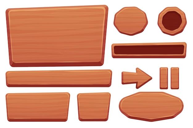 Bottone in legno impostato in stile cartone animato con dettagli incrinati isolati su sfondo bianco risorse di gioco ui