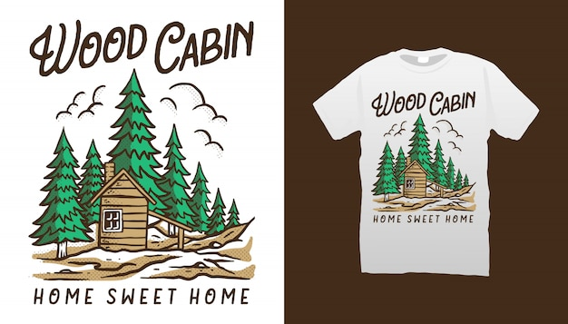 Design della maglietta di legno cabina