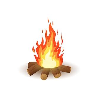 Falò di falò di legno isolato illustrazione vettoriale