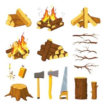 Falò di legno. pila di tronchi d'albero, rami, ascia da boscaiolo, sega e fiammiferi per fare falò. brucia la catasta di legna da ardere con le fiamme, insieme di vettore del legname. attrezzatura per il taglio del legno, escursionismo all'aperto