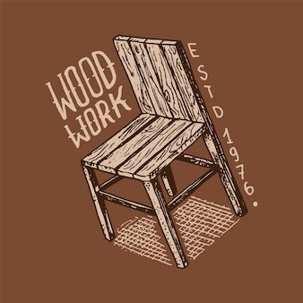Etichetta sedia in legno per officina o insegne. logo vintage, badge per tipografia o t-shirt.