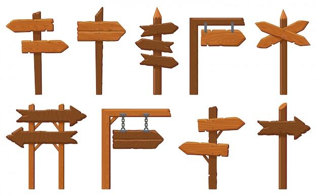 Segnali di direzione in legno. insegna di freccia in legno, cartello di direzione vintage vuoto, vecchio set di illustrazioni cornice di tavole. puntatore a freccia in legno, raccolta di cartelloni in legno vuoto