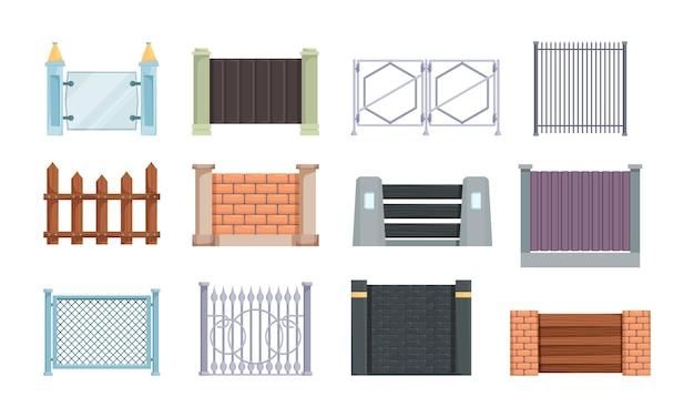 Recinzioni in legno. elementi esterni per modelli di cartoni animati vettoriali di casa colonica di recinzioni. collezione di pareti rurali, illustrazione della struttura di protezione dell'architettura domestica