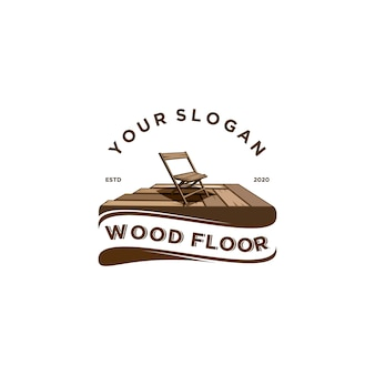 Logo vintage pavimento in legno
