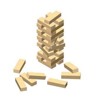Gioco di legno, blocchi di legno, stile cartoon isometrico