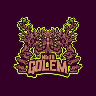 Logo della mascotte del golem di legno per sport e sport di squadra
