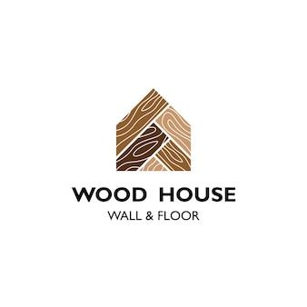 Modello di vettore del logo della parete del pavimento in parquet della casa in legno
