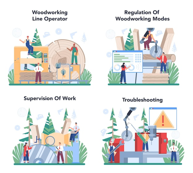 Insieme dell'illustrazione di industria del legno