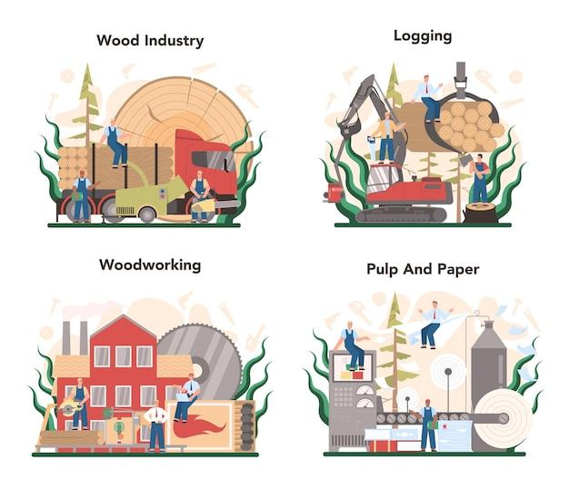 Insieme di concetto di industria del legno e produzione di carta. processo di registrazione e lavorazione del legno. produzione forestale. standard di classificazione industriale globale.