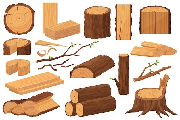 Materie prime per l'industria del legno. raccolta realistica dei campioni di produzione.