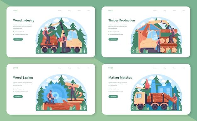 Set di banner o pagine di destinazione per l'industria del legno e la produzione di legname