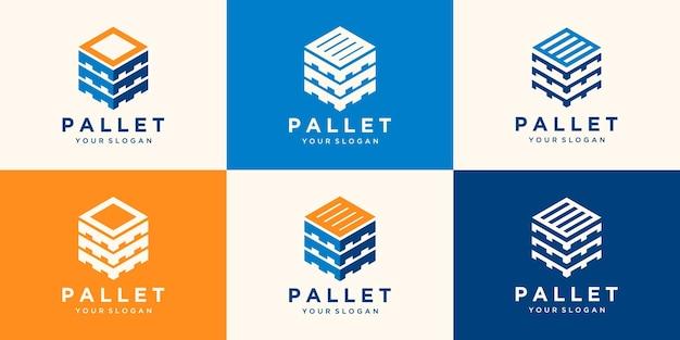 Pallet in legno con modelli di progettazione di tronchi esagonali. modello di logo moderno.