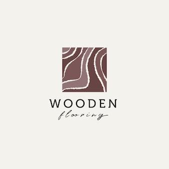 Disegno dell'illustrazione di vettore del modello di logo del vinile della pavimentazione del parquet di legno