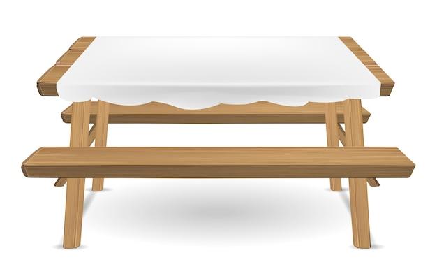 Tavolo da picnic in legno con il vettore di tovaglia bianca
