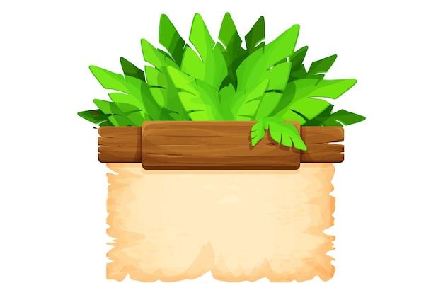 Tavole di legno con foglie di giungla di carta pergamena in stile cartone animato
