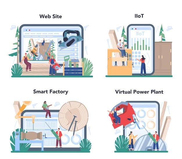 Servizio online dell'operatore di produzione di prodotti in legno o set di piattaforme