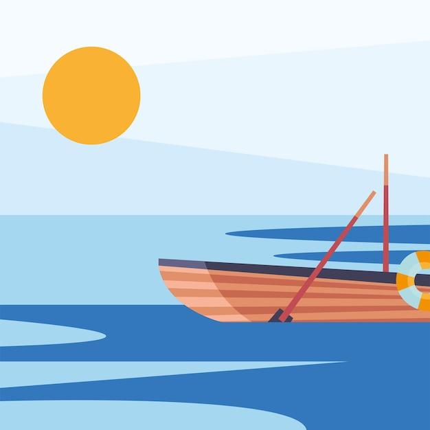 Design della barca a remi in legno