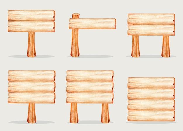 Illustrazione dell'acquerello del segno di legno