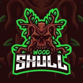 Modello di logo di gioco della mascotte del teschio di legno per lo streamer di esports facebook youtube