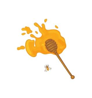 Cucchiaio di legno con miele versato stile schizzo mestolo di miele con miele e ape vettore isolato stampa