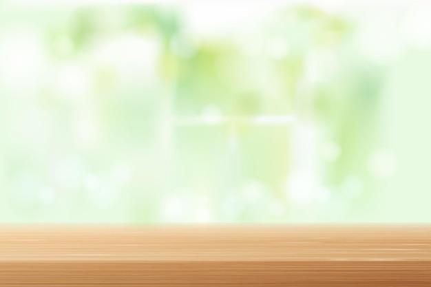 Sfocatura dello sfondo del piano del tavolo in legno