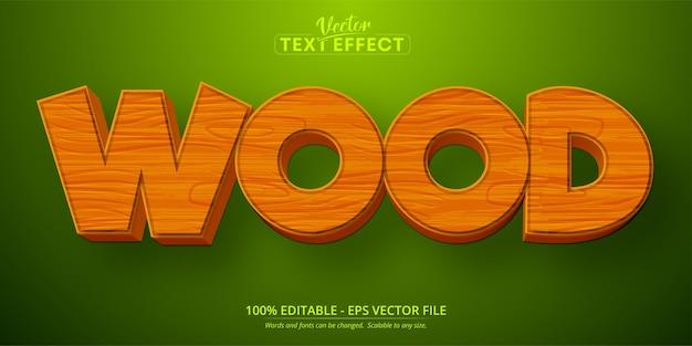 Testo in legno, effetto di testo modificabile in stile cartone animato