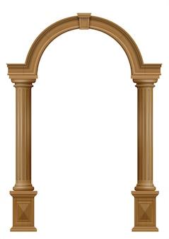 Arco in legno della porta del portale con colonne