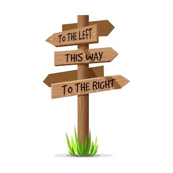 Cartello in legno di direzione della freccia. segno di legno post concetto con erba. puntatore a bordo