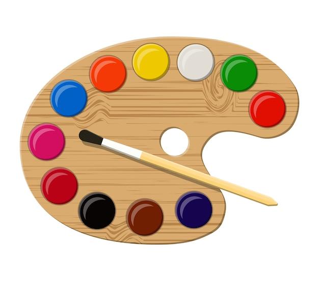 Tavolozza di arte in legno con colori e pennello