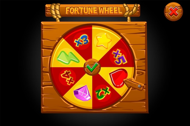 Banner di legno gira la ruota della fortuna.