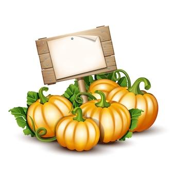 Banner in legno con zucche arancioni. illustrazione autumn harvest festival o il giorno del ringraziamento.