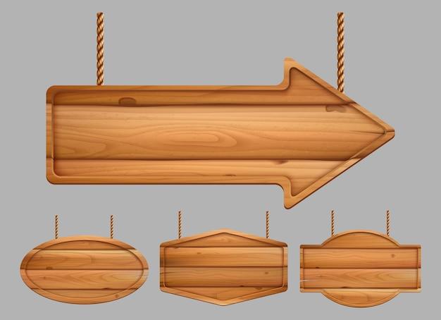 Striscioni in legno. insegne pubblicitarie realistiche texture vintage del modello di legno. struttura della struttura in legno, illustrazione della tavola di legno