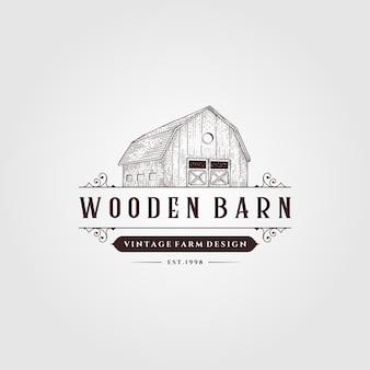 Fienile in legno logo vintage