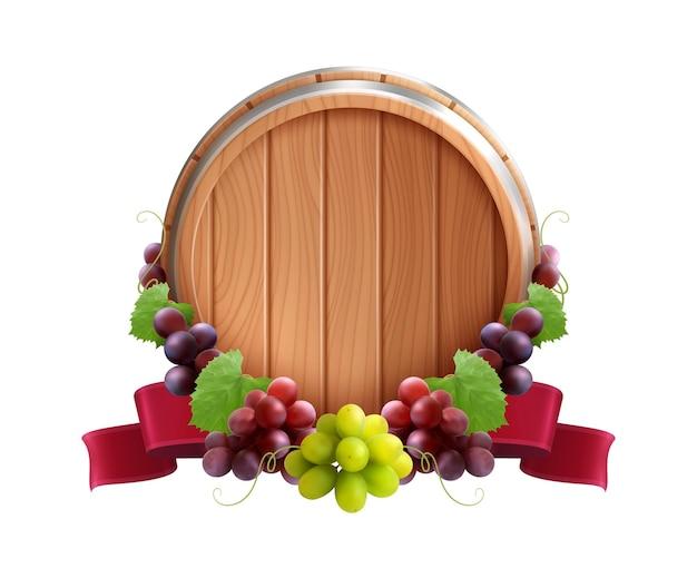 Composizione realistica dell'emblema del barilotto di legno con l'uva della vite e il nastro rosso legati intorno alla botte di vino