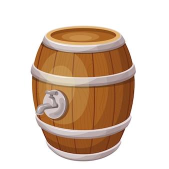 Barile di legno con alcool. festa della birra. oktoberfest. botte orizzontale. illustrazione vettoriale isolato in stile cartone animato