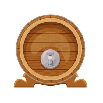 Barile di legno con alcool, bevanda tradizionale del festival della birra oktoberfest. illustrazione vettoriale.