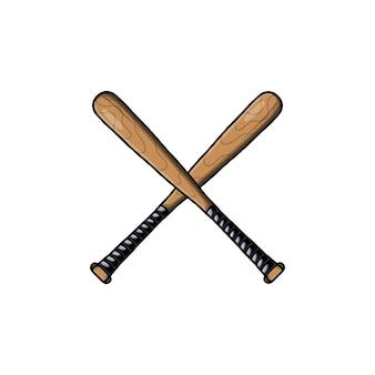Illustrazione vettoriale di mazza da baseball in legno