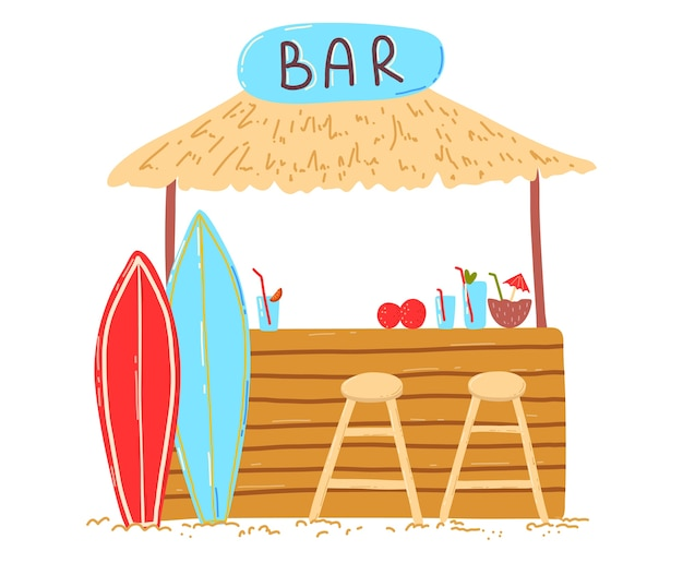 Casa per le vacanze sulla spiaggia in legno, barra di iscrizione sul bungalow, cocktail e bevande rinfrescanti, illustrazione di stile del fumetto di progettazione, isolata su bianco. tavole da surf sull'oceano vicino alla capanna, soleggiata isola dei tropici.
