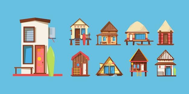 Illustrazioni di vettore piane delle case di spiaggia di legno messe